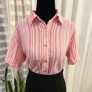 (3/$25) Tabi Vintage Vertical Striped Shirt Womens